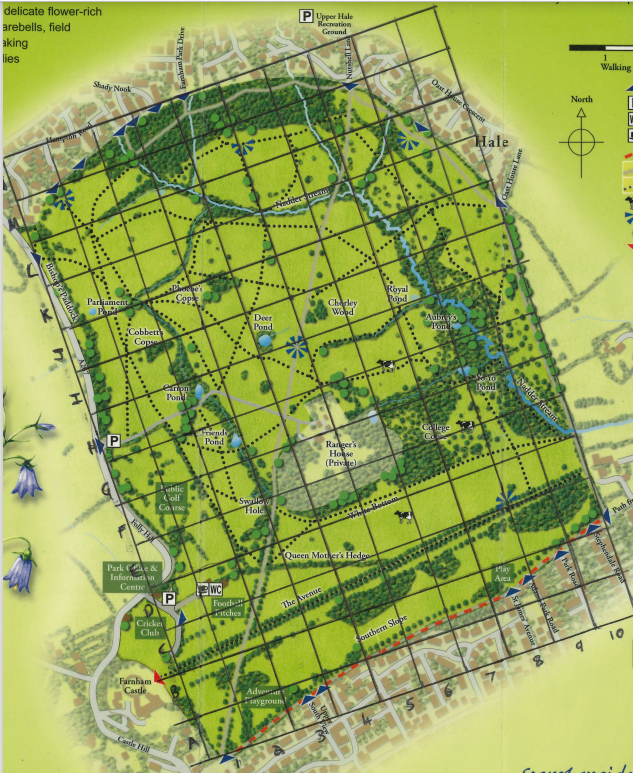 Farnham Park map grid for volunteers